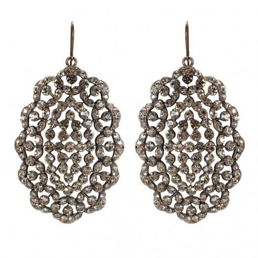 Oval Crystal Filigree Earrings - dolly mama boutique