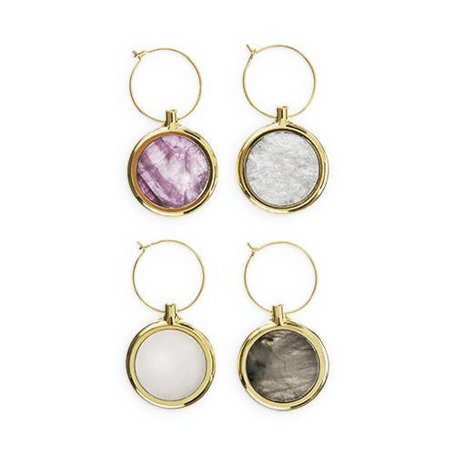 Gold Garden Party -- Agate Wine Charm Set - dolly mama boutique