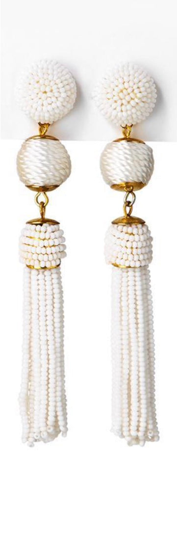 Seed Bead Tassel Earrings - dolly mama boutique