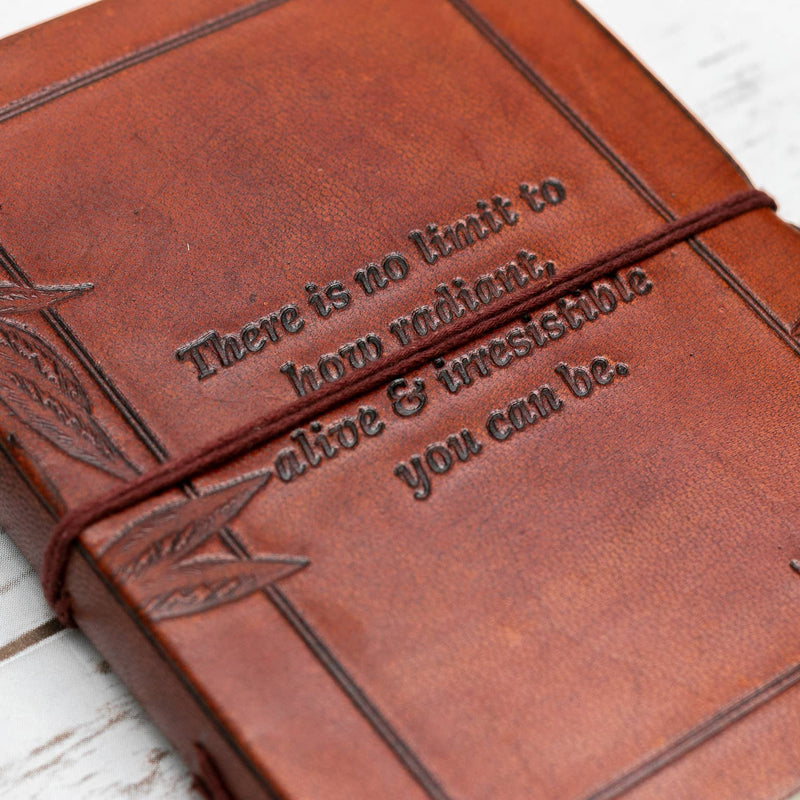 No Limit Quote Handmade Leather Journal - dolly mama boutique