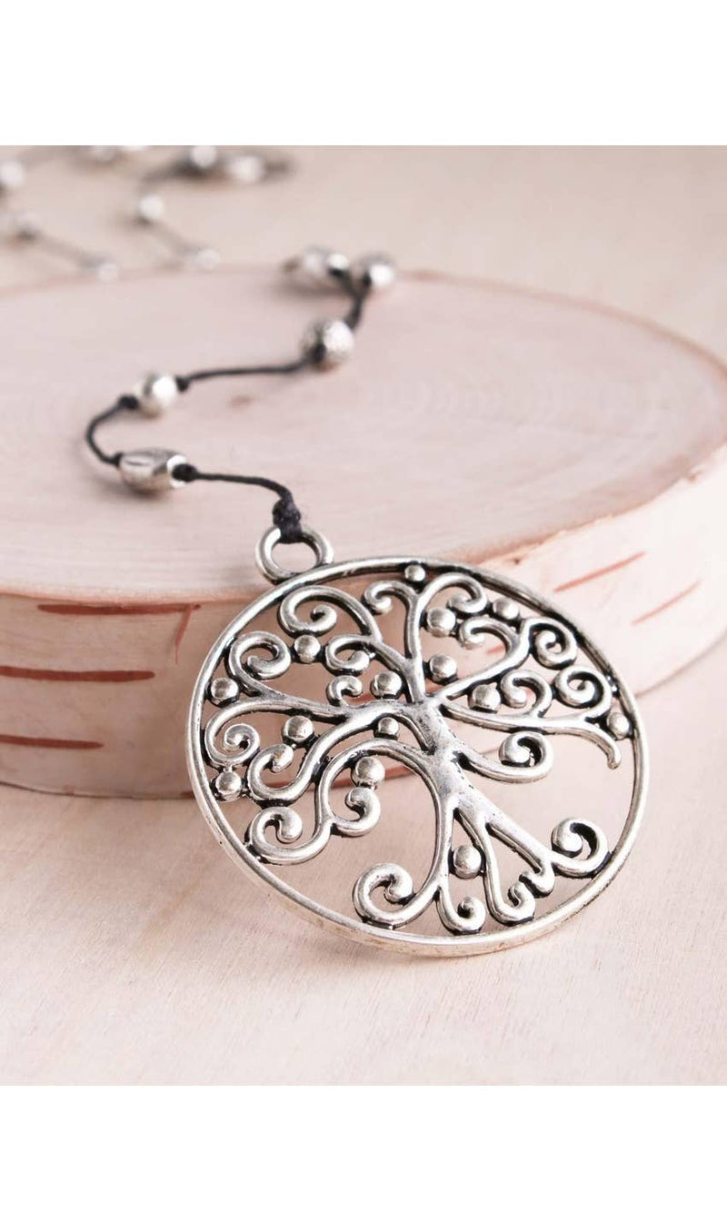 Silver Scroll Tree of Life Necklace - dolly mama boutique
