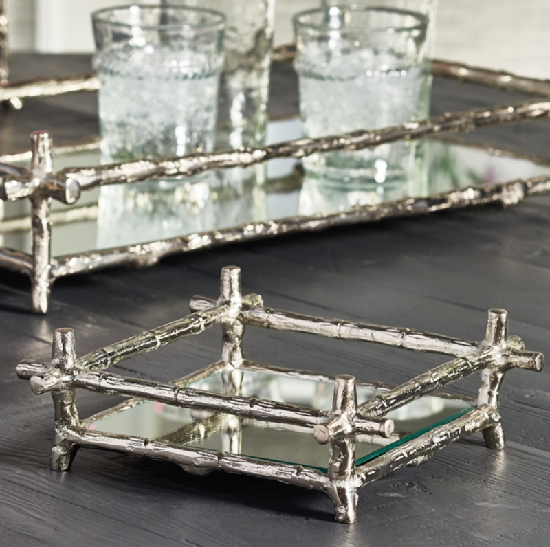 BARCLAY BUTERA BRENTWOOD MIRRORED COCKTAIL NAPKIN TRAY - dolly mama boutique
