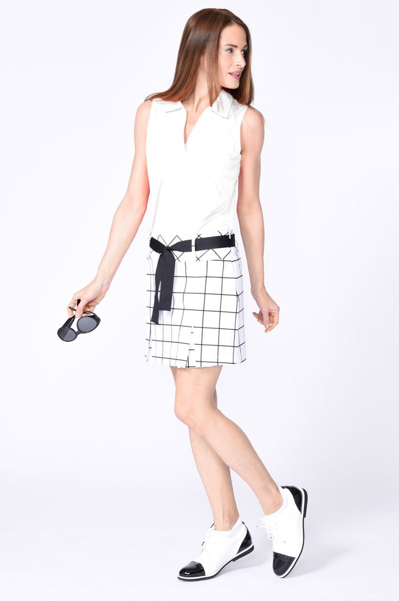 White Sleeveless Cotton Mesh Collar Polo
