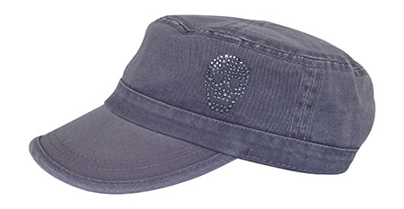 Cameron Military Cap, Crystal Skull - dolly mama boutique