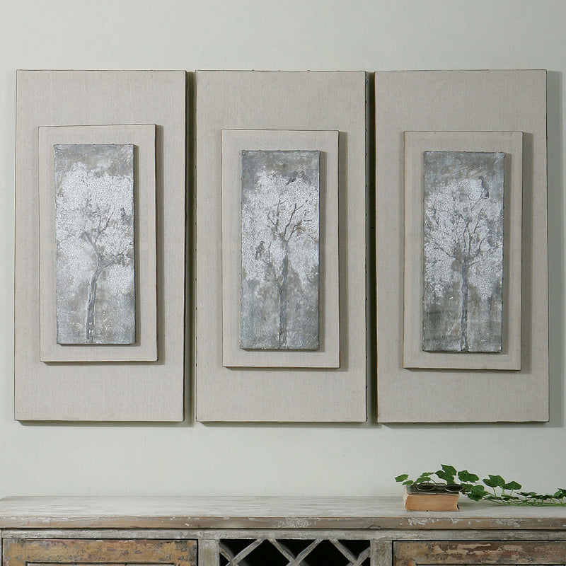 TRIPTYCH TREES HAND PAINTED CANVASES, S/3 - dolly mama boutique