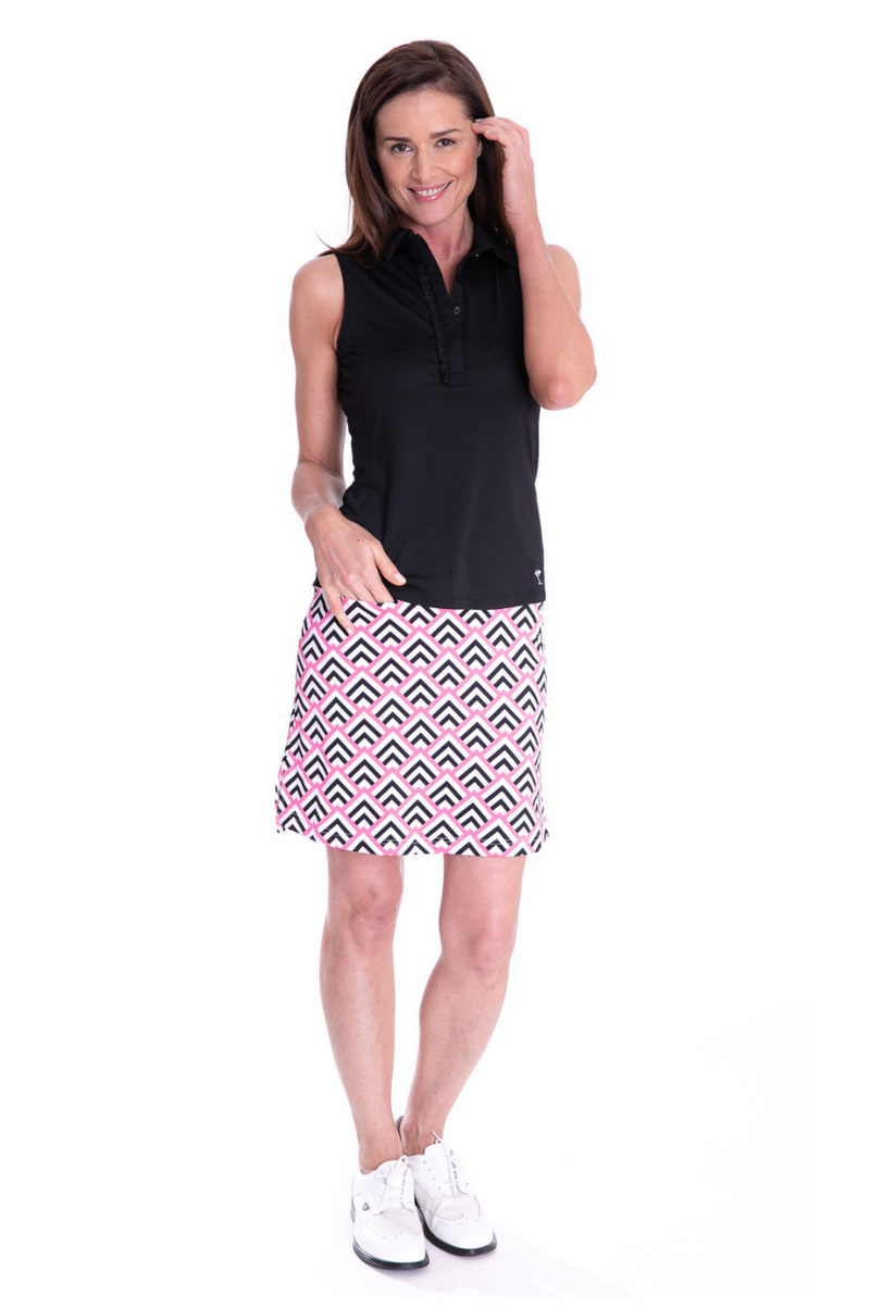 Sleeveless Ruffle Tech Polo - Black - dolly mama boutique