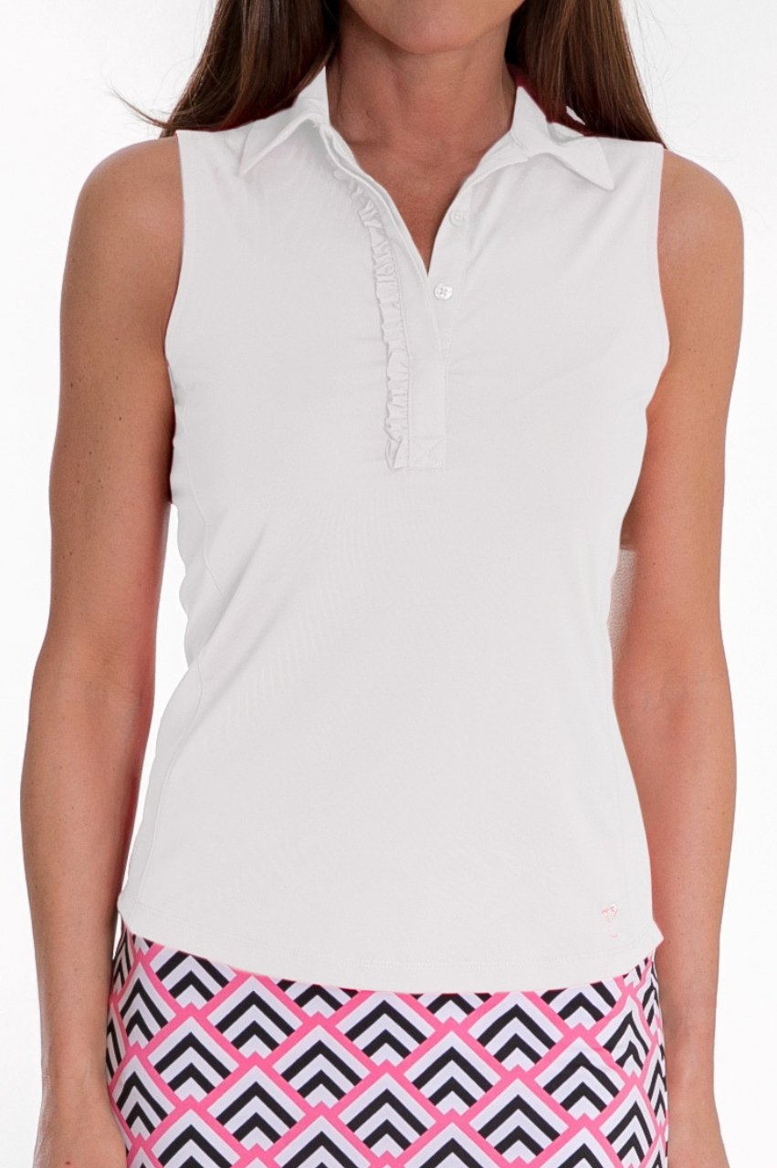 Sleeveless Ruffle Tech Polo - White