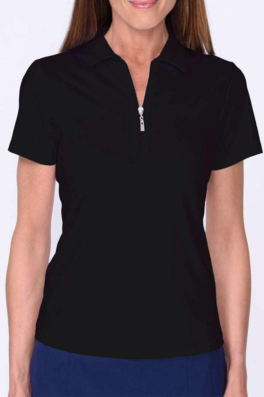 Black Short Sleeve Zip Tech Polo - dolly mama boutique