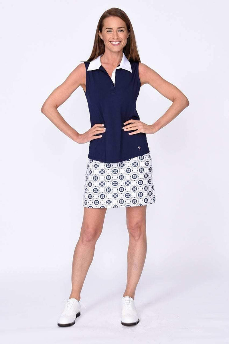 Navy Sleeveless Contrast Tech Polo - dolly mama boutique