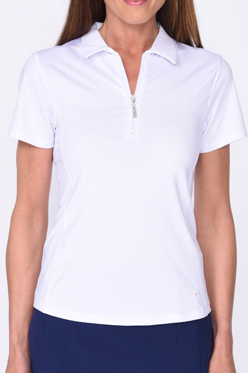 White Short Sleeve Zip Tech Polo - dolly mama boutique