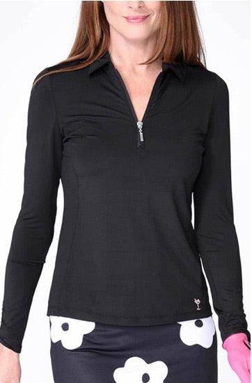 Long Sleeve Breathable Zip Tech Polo - Black - dolly mama boutique