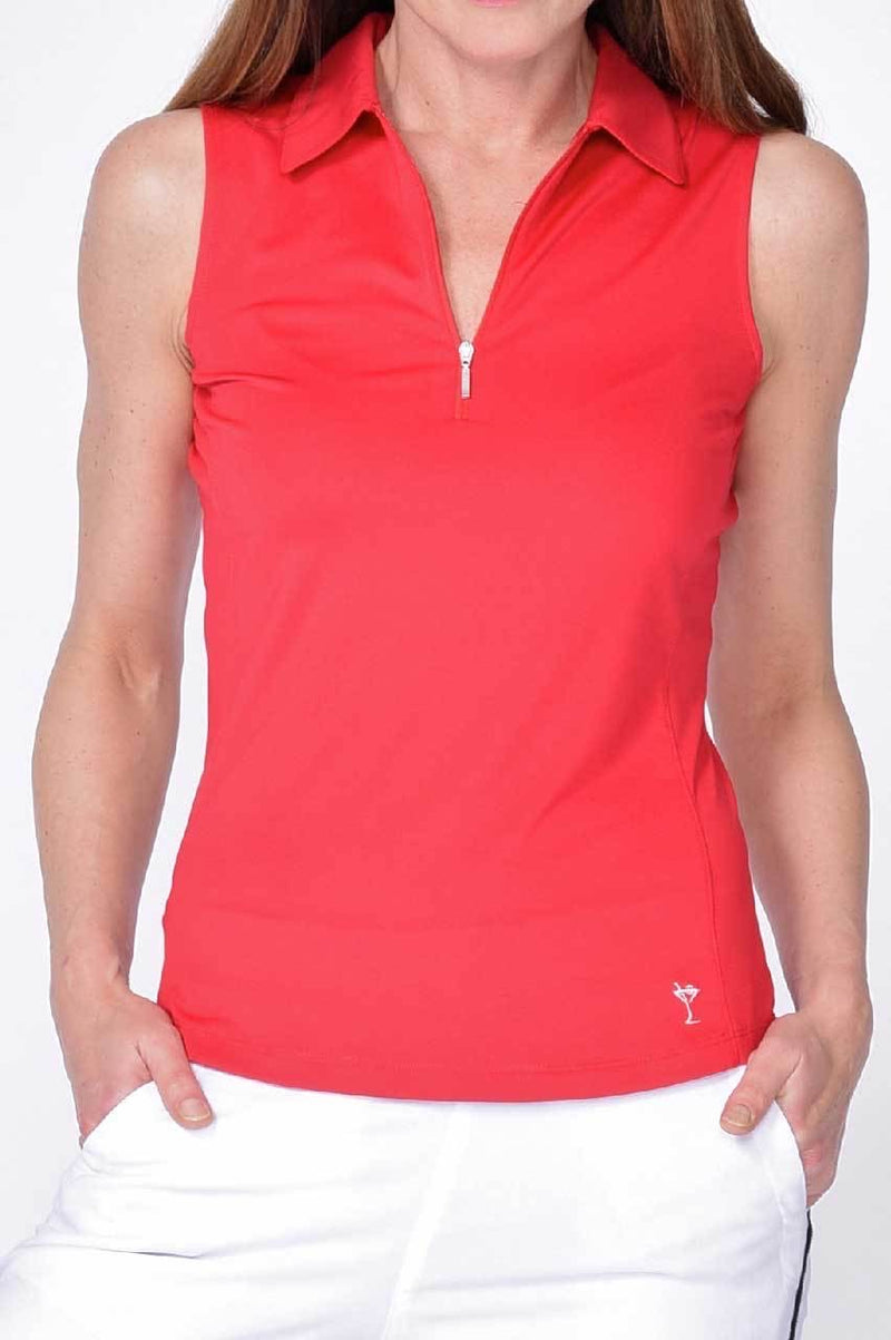 Sleeveless Zip Stretch Polo - dolly mama boutique