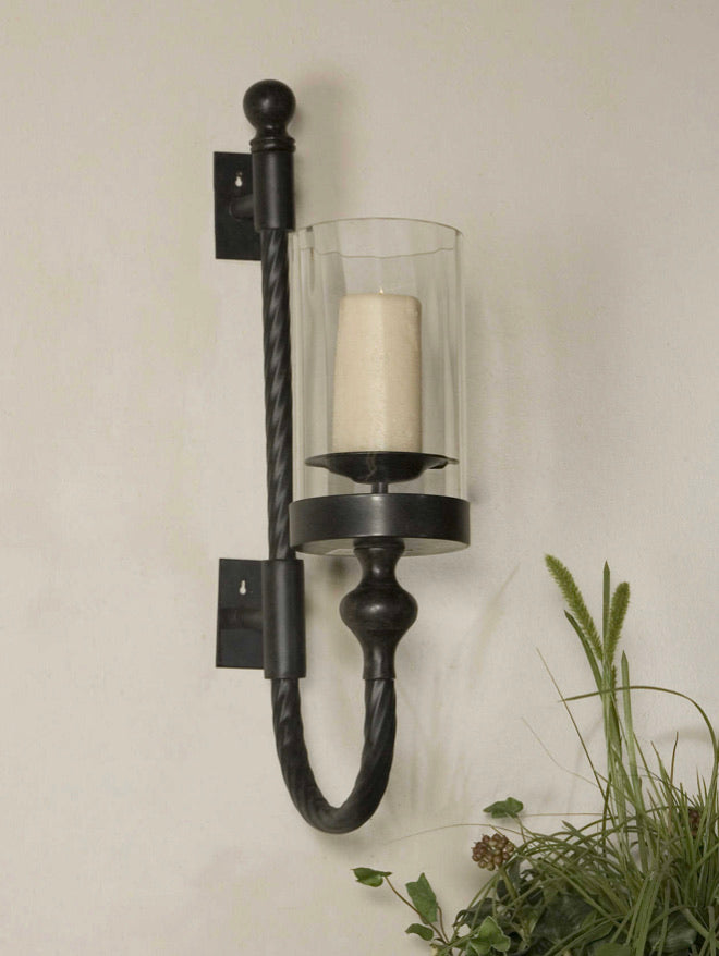 GARVIN TWIST SCONCE W/ CANDLE - dolly mama boutique