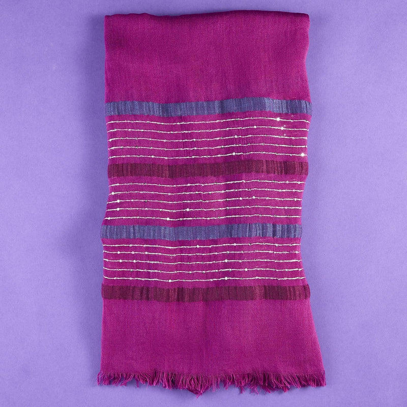 Striped and Sequin Scarf - dolly mama boutique