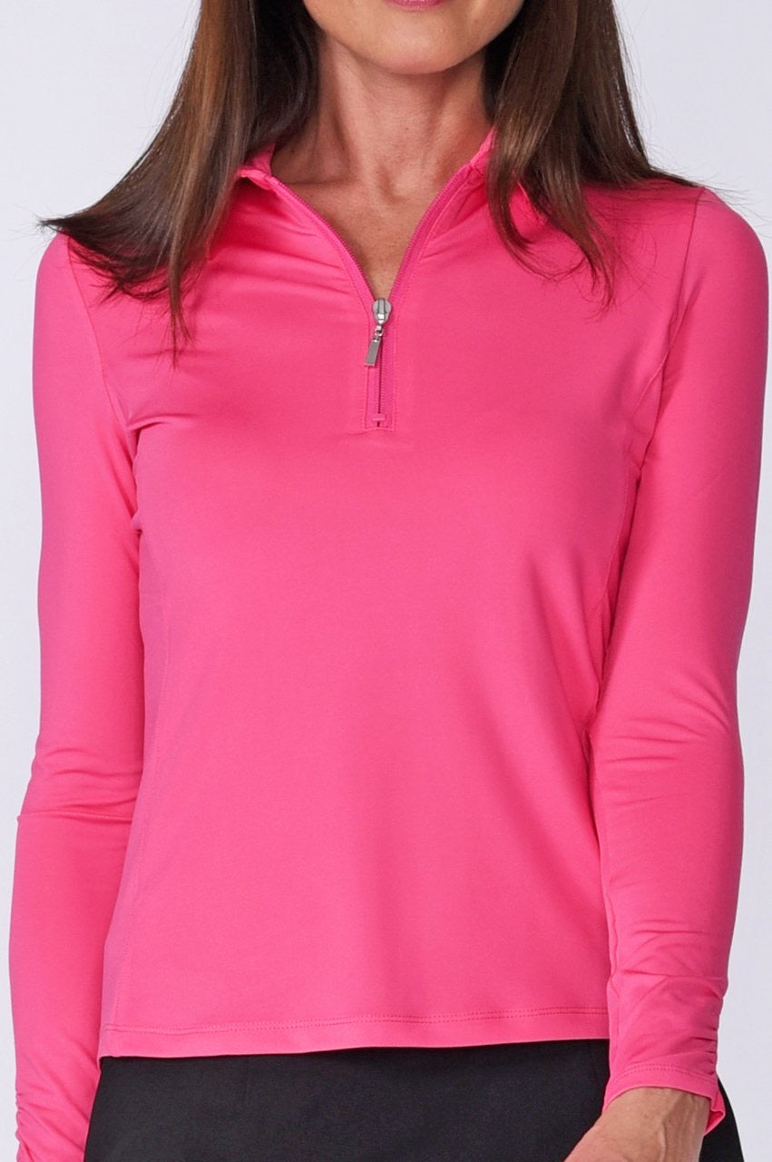 Long Sleeve Breathable Zip Tech Polo - Pink
