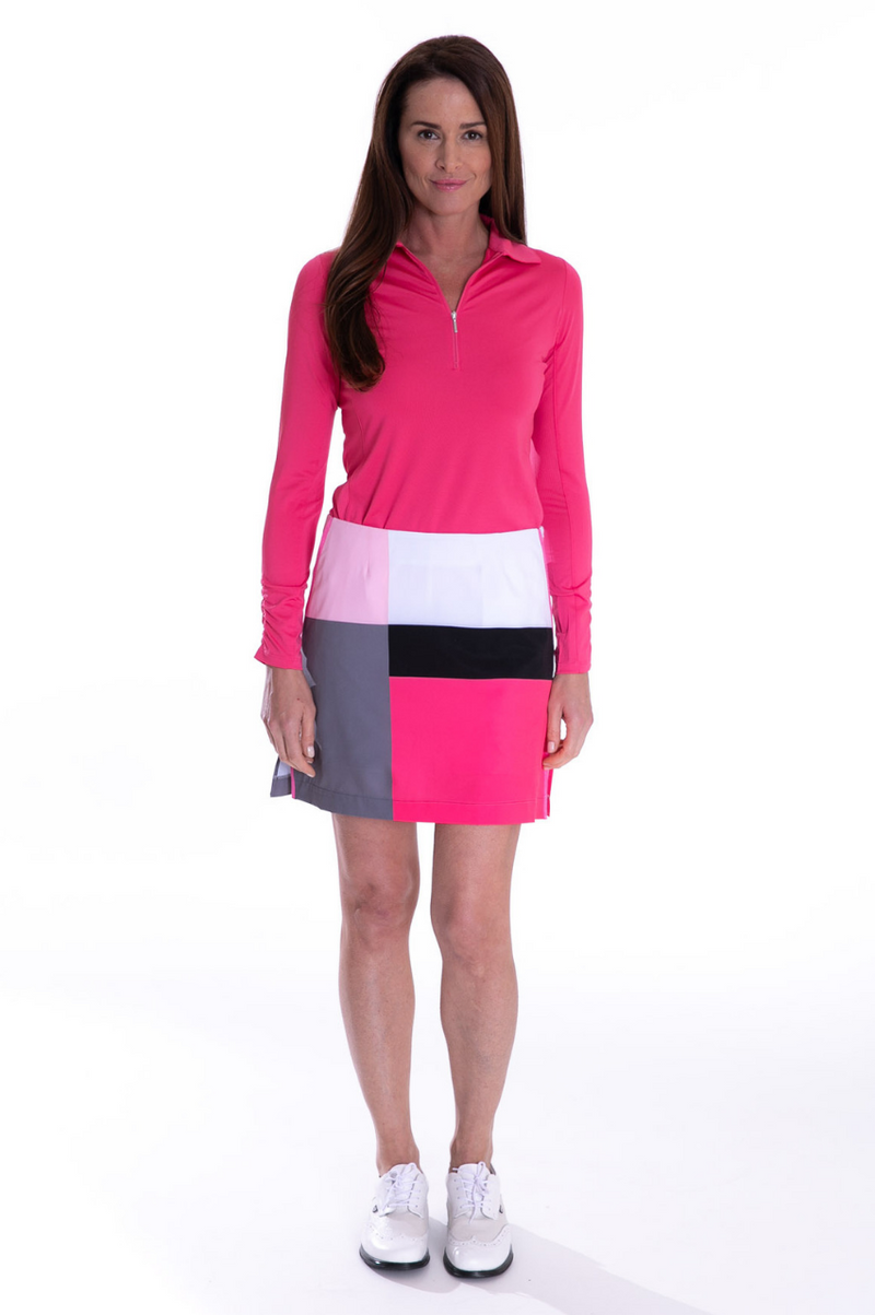 Long Sleeve Breathable Zip Tech Polo - Pink - dolly mama boutique