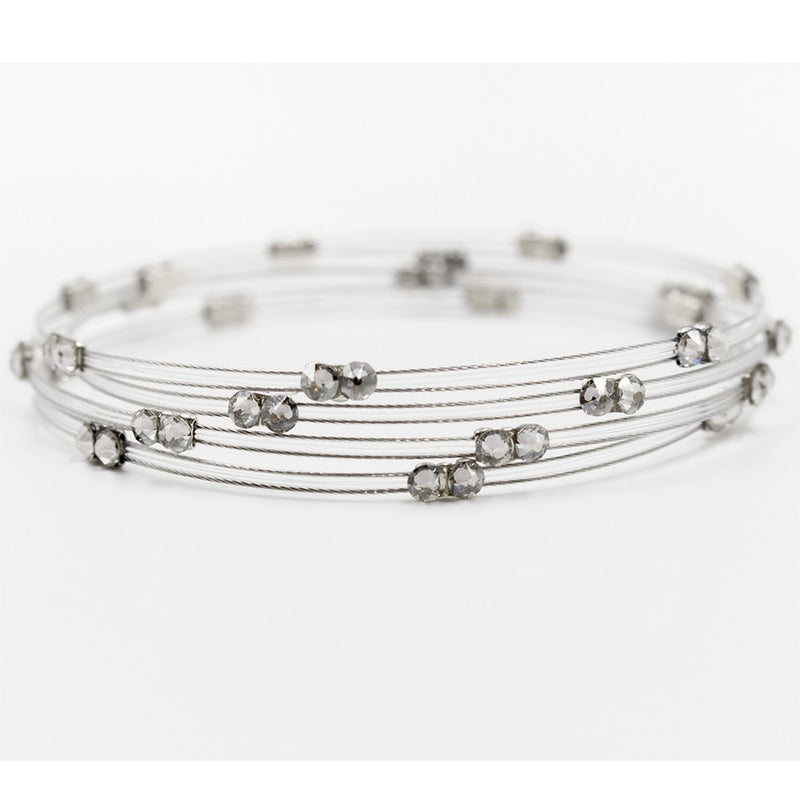 Seasonal Whispers Double Clear/Silver Bracelet - dolly mama boutique