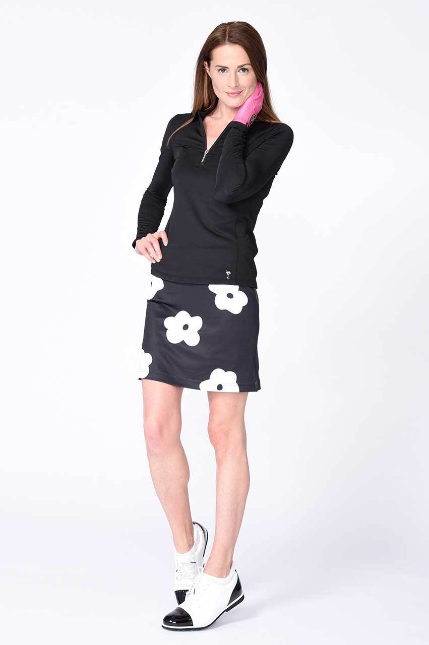 Black Long Sleeve Mesh Panel Zip Tech Polo - dolly mama boutique