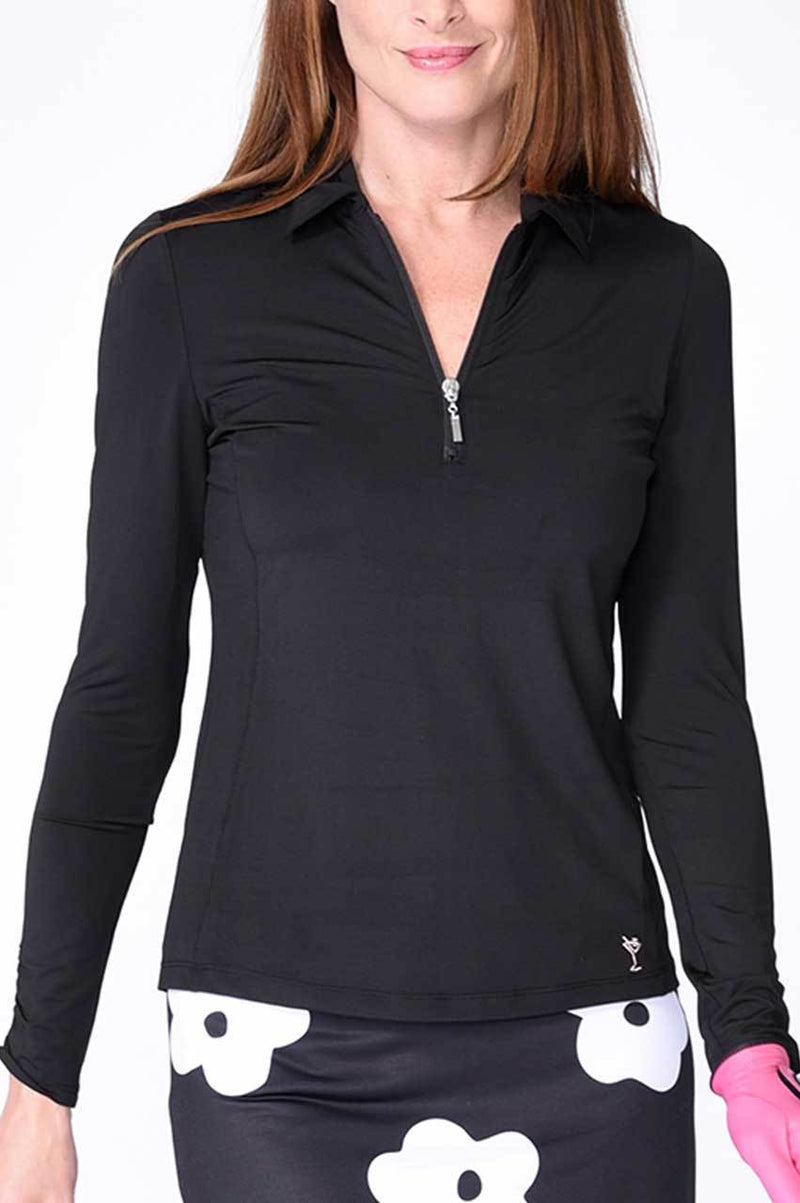 Black Long Sleeve Mesh Panel Zip Tech Polo
