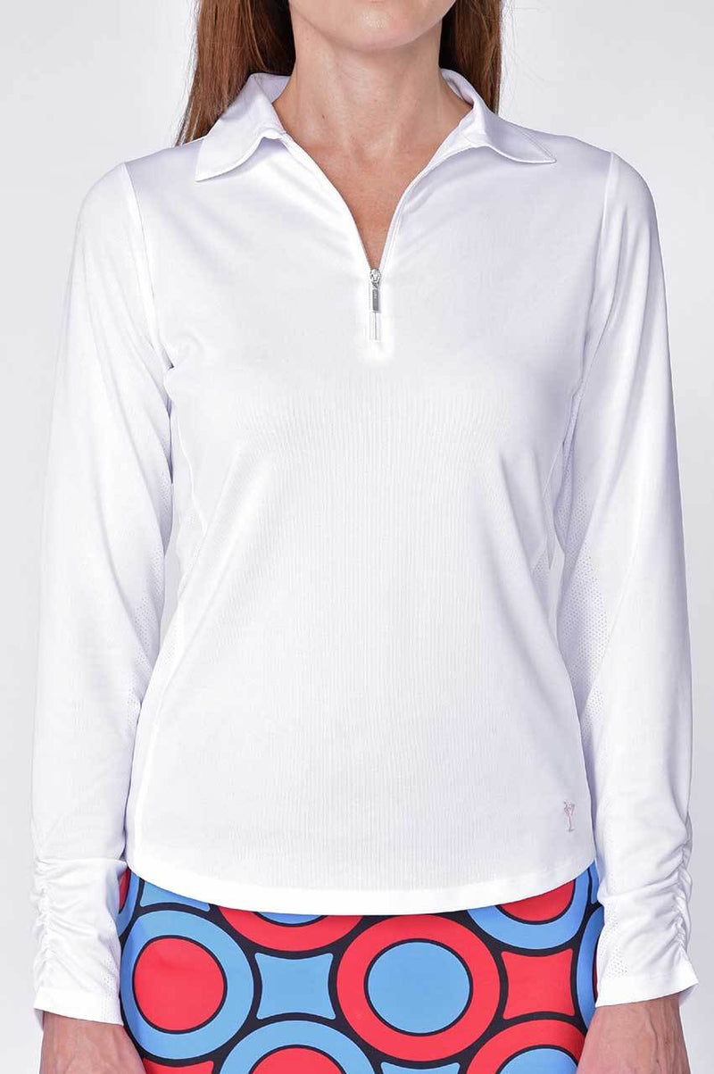 White Long Sleeve Mesh Panel Zip Tech Polo - dolly mama boutique