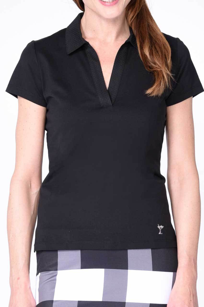 Black Cotton Mesh Collar Polo