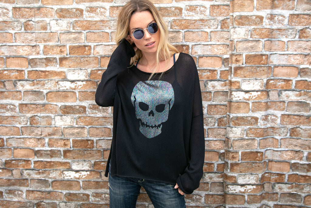 Metallic Skull Crew - dolly mama boutique