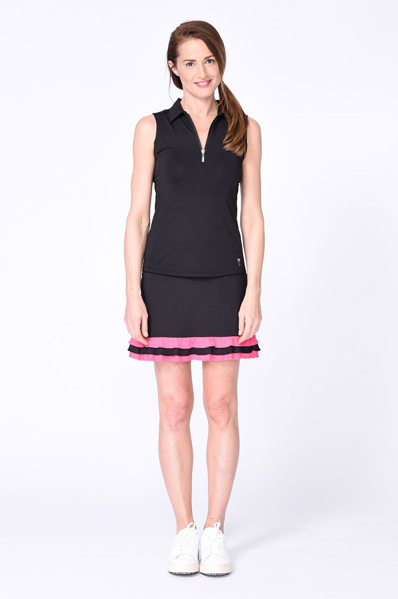Black Sleeveless Contrast Tech Polo - dolly mama boutique