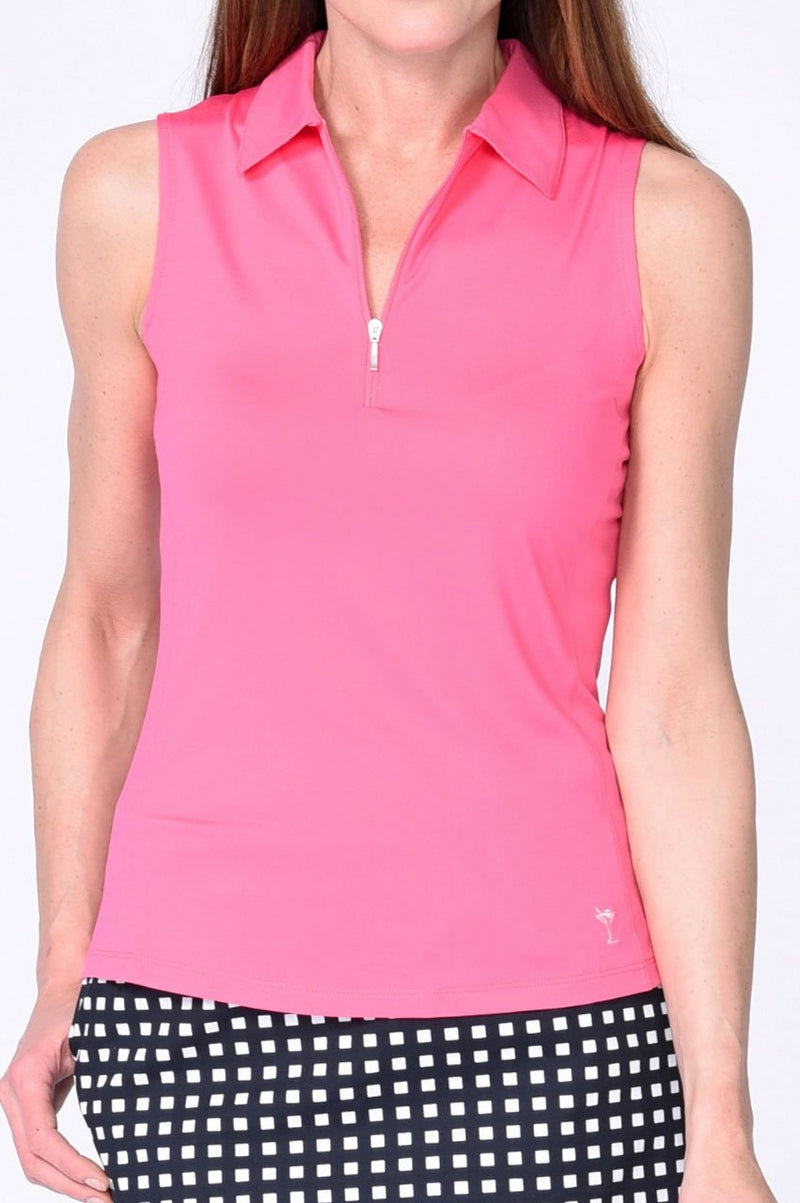 Hot Pink Sleeveless Zip Tech Polo