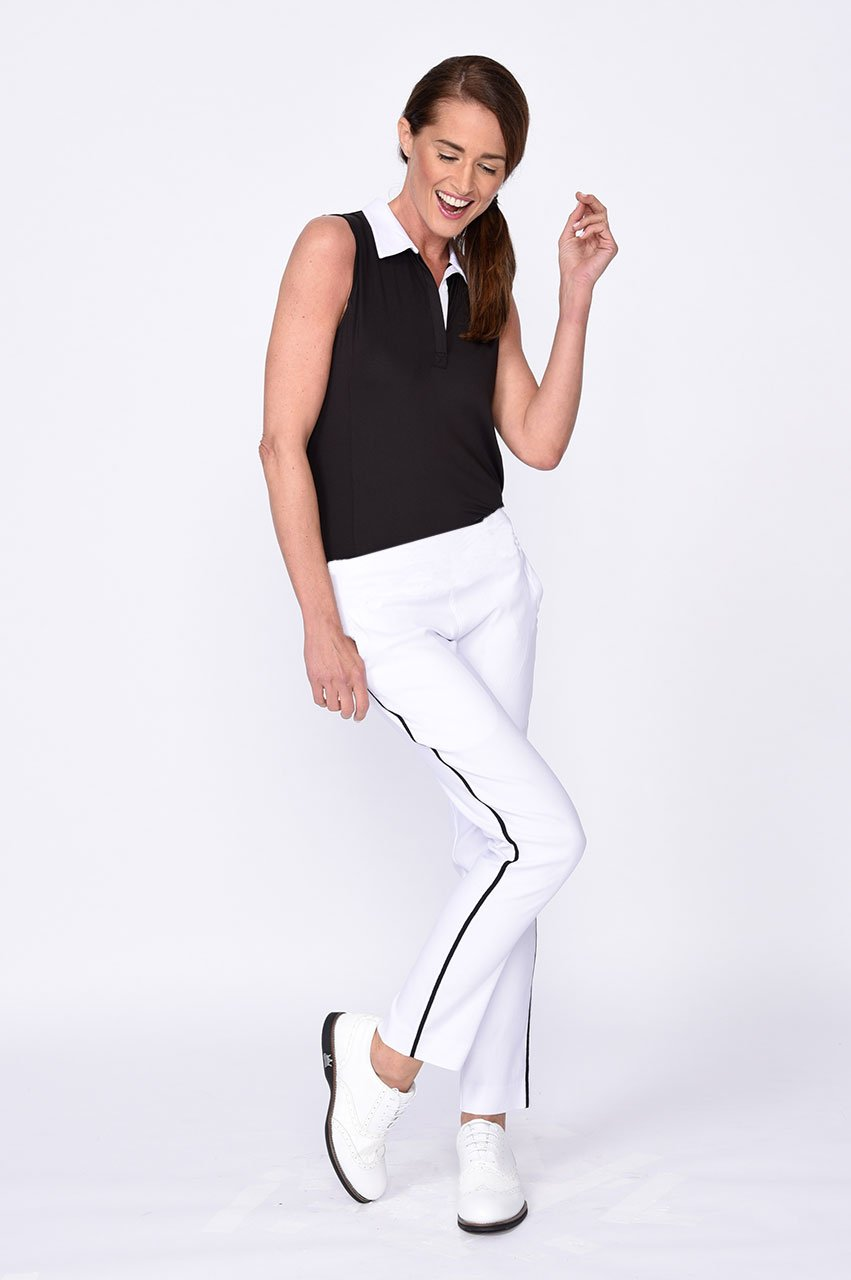 White Trophy Pull-On Stretch Twill Pant - dolly mama boutique
