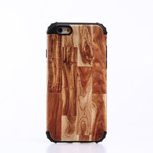 2 in 1 Shockproof Silicon Bumper Wooden Patern Case Cover for iPhone 5S 6S Plus 7 Plus with Metal Sheets for Magnetic Holding