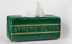 Athens Block Tissue Box Ceramic (green)