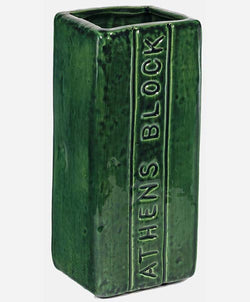 Athens Block Tall Bobcat Green Vase