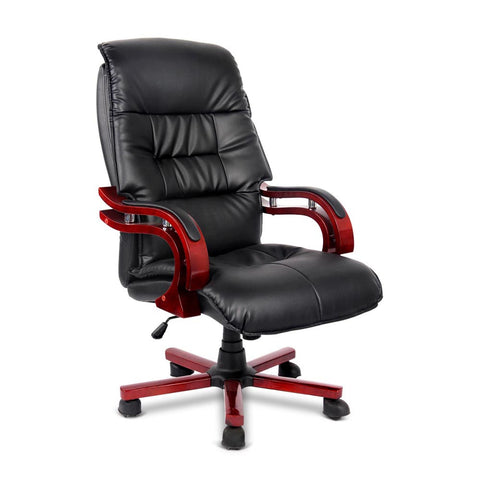 PU Leather & Wood Deluxe Office Chair