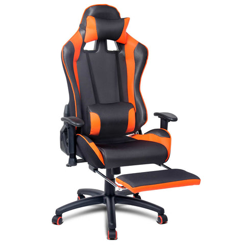 PU Leather & Mesh Reclining Office Desk Gaming Executive Chair 鈥?Orange