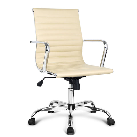 Replica Eames PU Leather Office Chair - Beige