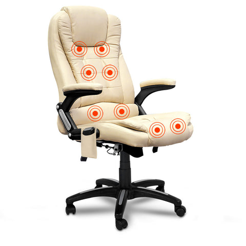 8 Point Massage Executive PU Leather Office Computer Chair Beige