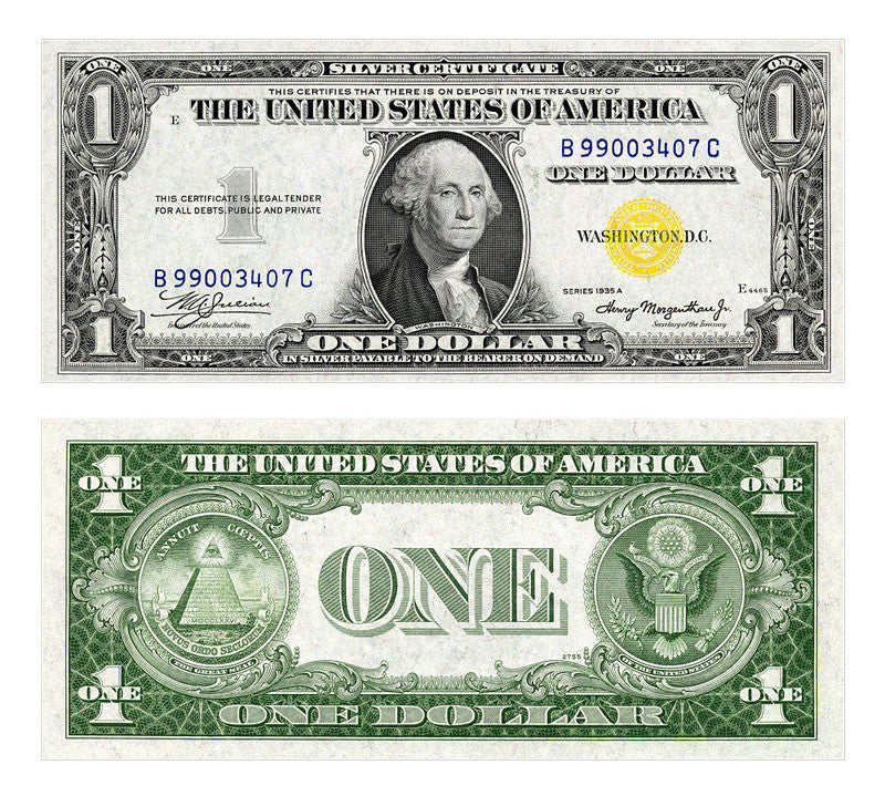 One Dollar Bill 1935 Silver Certificate Yellow Seal Page 3 Uncnotes
