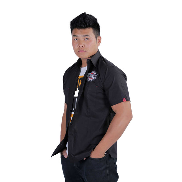 Skull-Shield Mechanic Shirt Black