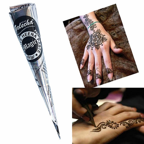 GLAM Henna Temporary Tattoo - 12 Cones Black