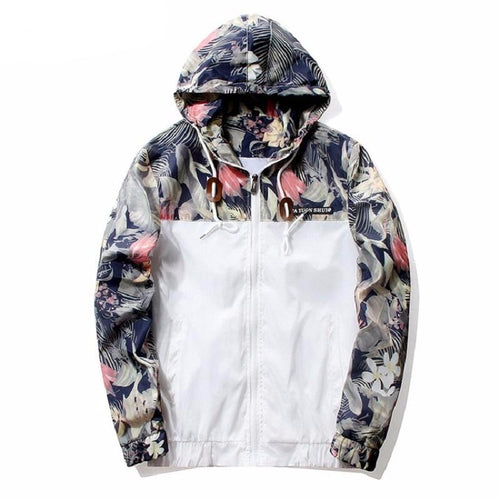 Floral Hooded Bomber Jacket For Men