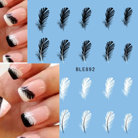 All about nails elegance gallery 1pcs blackwhite feather nail art decoration stickers elegance gallery prinsesfo Image collections
