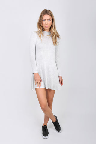 Ribbed Mock Neck A Line Dress