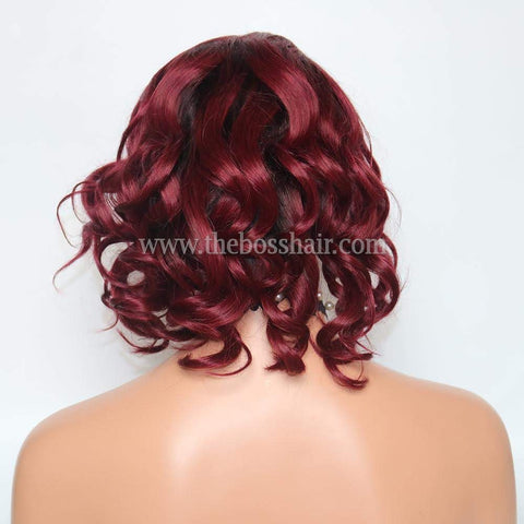 "12"" 360 Lace Wig - Burgundy Loose Wave"
