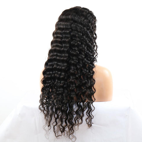 "18"" PLATINUM GRADE HAIR 13x4 Frontal Lace Wig Deep Wave 180% Density"