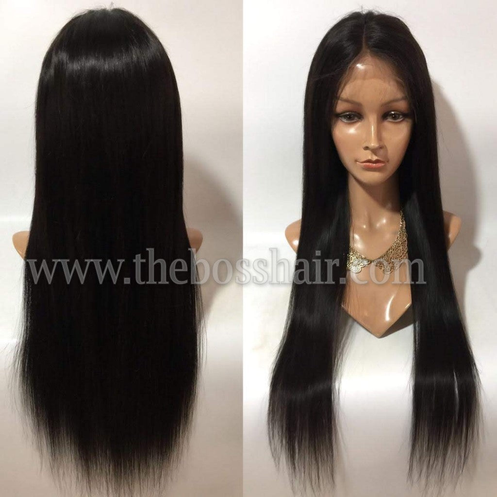 -Retro Lace Front Wigs - Straight #1 Hair Color