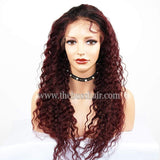 "20"" Front Lace Closed Cap - Deep Wave 99j"