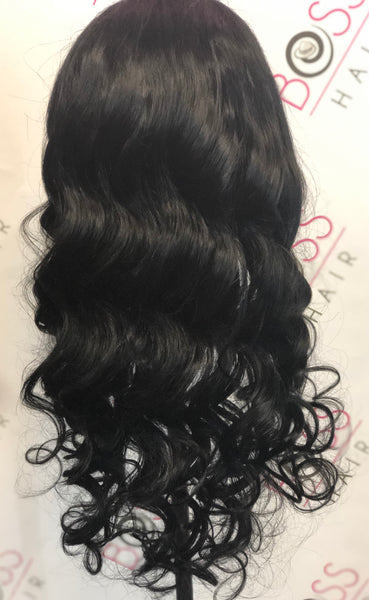 100% Human Hair - Loose Wave Front Lace Wig #1 color