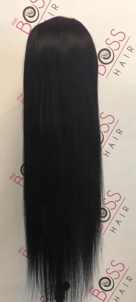100% Human Hair- Yaki Straight Front Lace #1 color