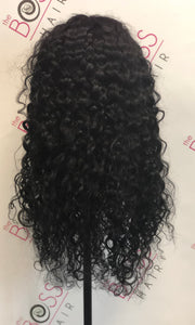 100% Human Hair WATER WAVE Lace Front Wig #1 Jet Black Hair
