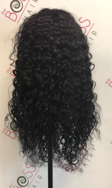 100% Human Hair - Water Wave Front Lace Wig #1 color
